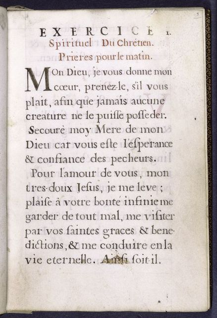 Opening of text, majuscules, rubric, French text.