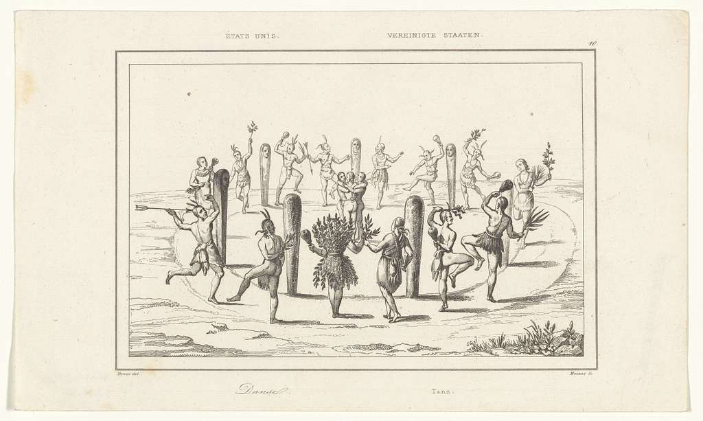 Native American dancing in prints