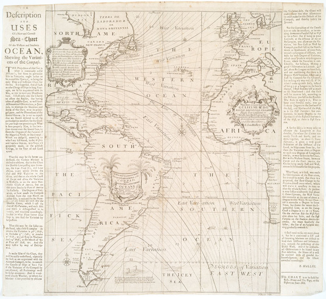 A new and correct chart shewing the variations of the compass in the western & southern oceans as observed in ye year 1700