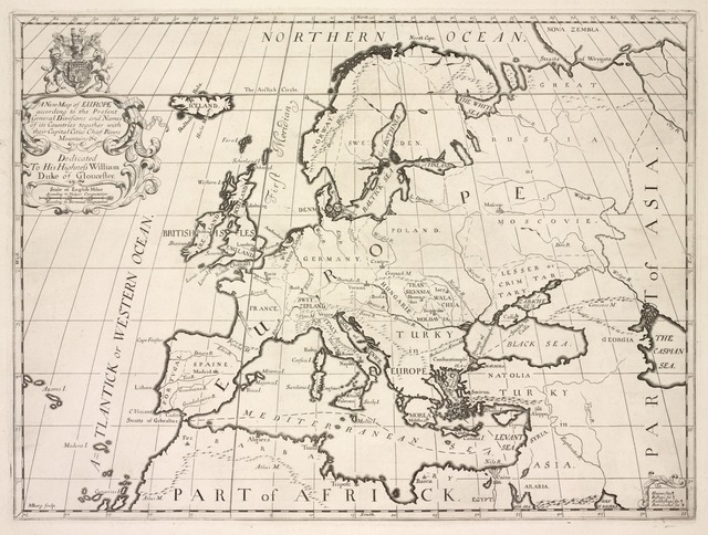 A new map of Europe according to the present general divisions and names of its countries together with their capital cities, rivers, mountains &c.