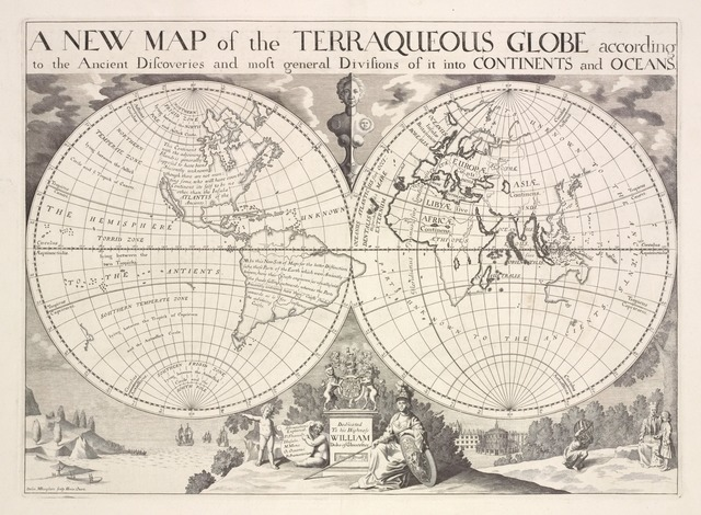 A new map of the terraqueous globe according to the ancient discoveries and most general divisions of it into continents and oceans.