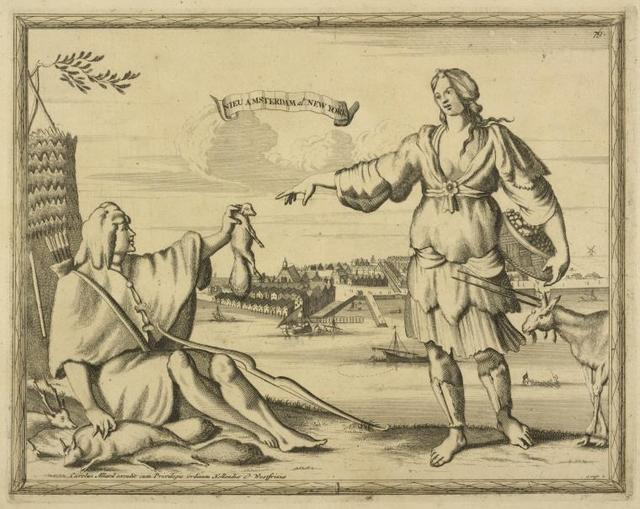 Man, at left. with bow and arrows seated on ground, handing beaver[?] to a woman, at right, standing. On banderole, over clouds: Nieu Amsterdam, al. New Yorck