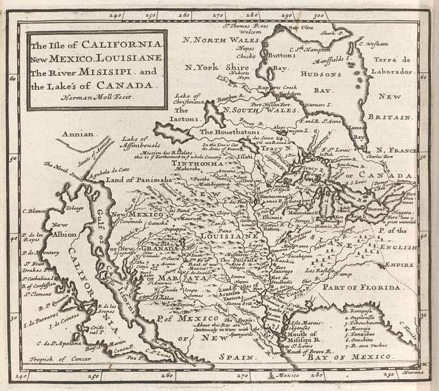 The isle of California, New Mexico, Louisiane, the river Misisipi, and the lakes of Canada.
