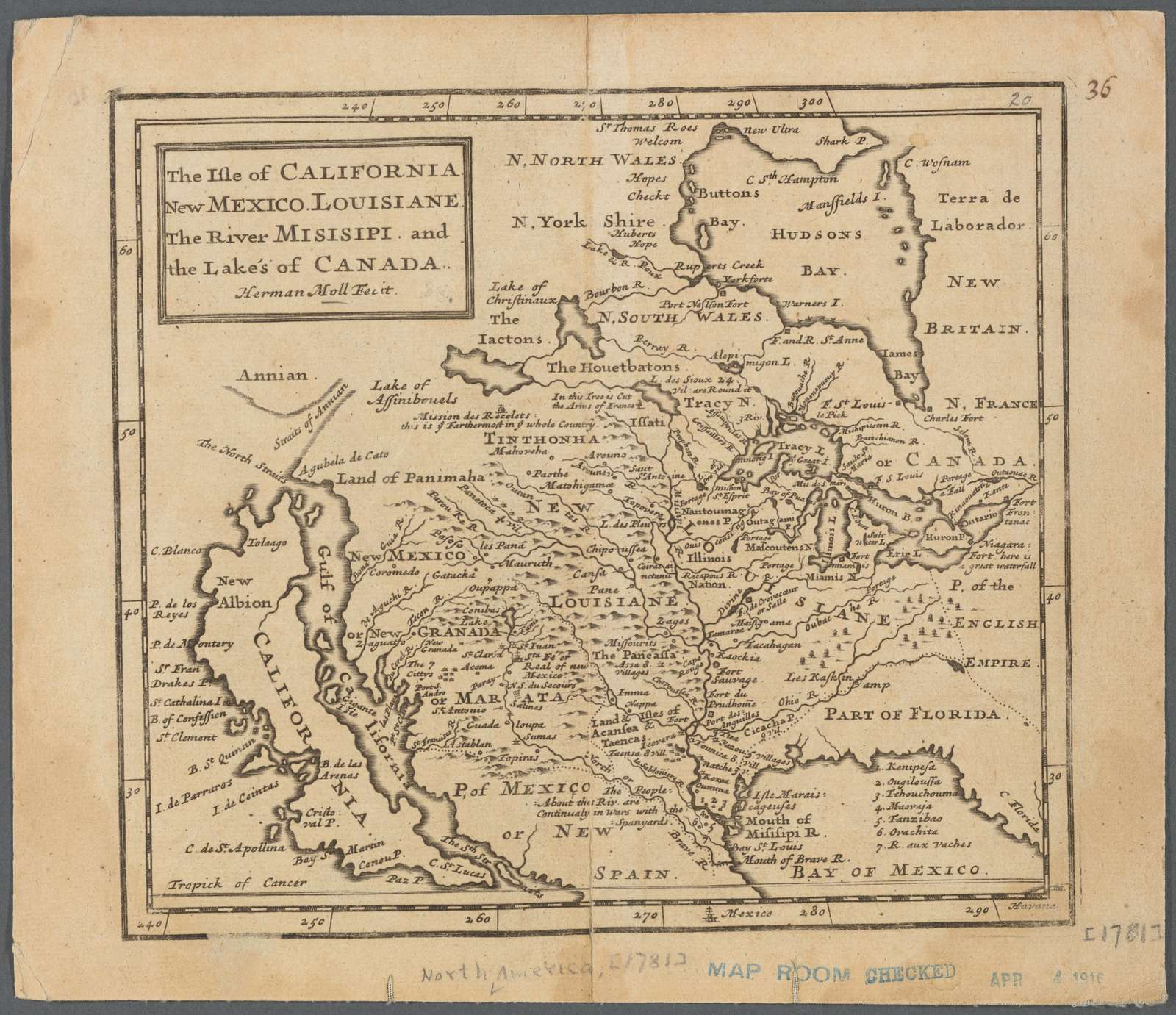 The isle of California, New Mexico, Louisiane, the river Misisipi, and the lakes of Canada