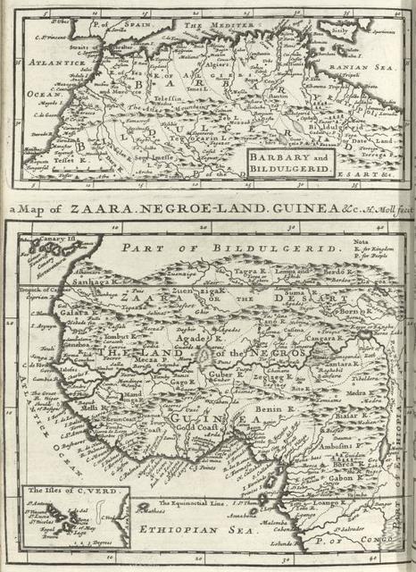 Barbary and Bildulgerid ; A map of Zaara, Negroe-land, Guinea, &c. (Inset: The Isles of C, Verd)