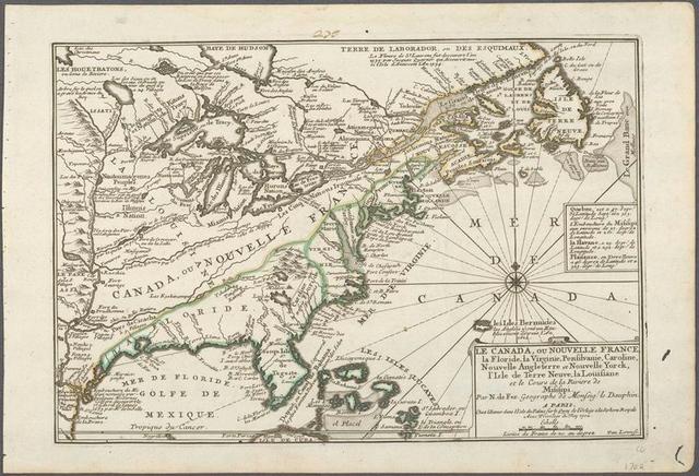 Le Canada, ou Nouvelle France, la Floride, la Virginie, Pensilvanie, Caroline, Nouvelle Angleterre et Nouvelle Yorck, l'Isle de Terre Neuve, la Louisiane, et le cours de la riviere de Misisipi