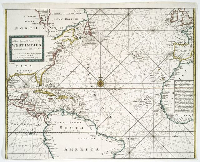 A new generall chart for the West Indies, of E. Wright projection vul. Mercators chart