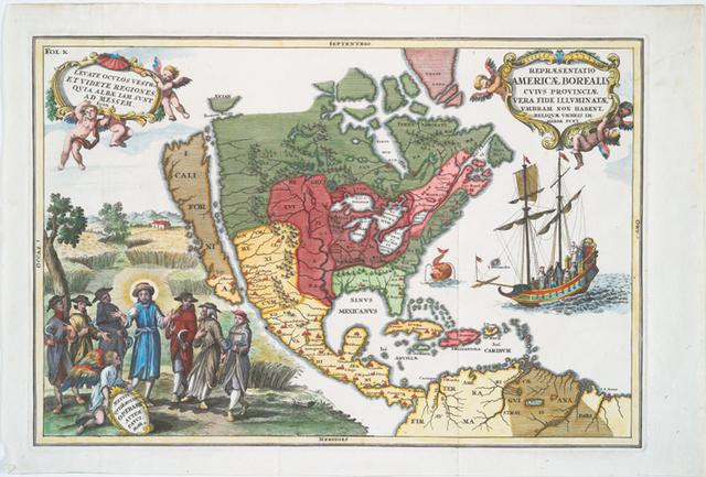Repraesentatio Americae Borealis : cvivs provinciae vera fide illvminatae vmbram non habent reliqvae vmbris immersae svnt.