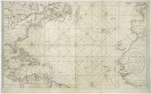 Nieuwe wassende Graade Zee kaart over de Spaanse Zee van't kanaal tot't eyland Cuba in Westindia.