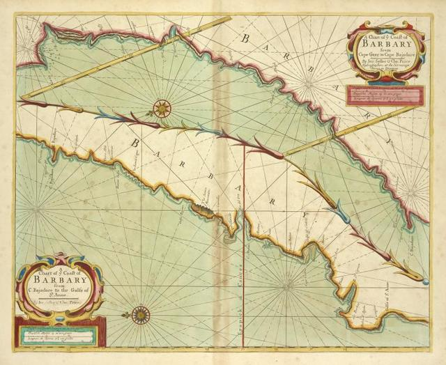 A chart of coast of BARBARY from C. Bajadore to the Golfe of St. Anne
