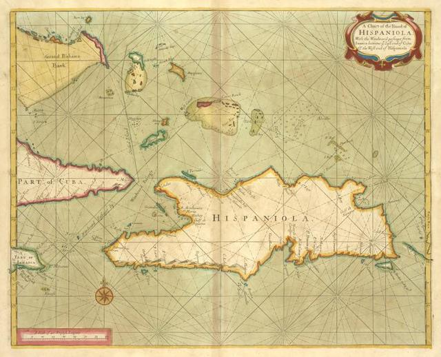 A chart of the Iland of HISPANIOLA with the windward passage from Jamaica betwene ye East end of Cuba and the west end of Hispaniola