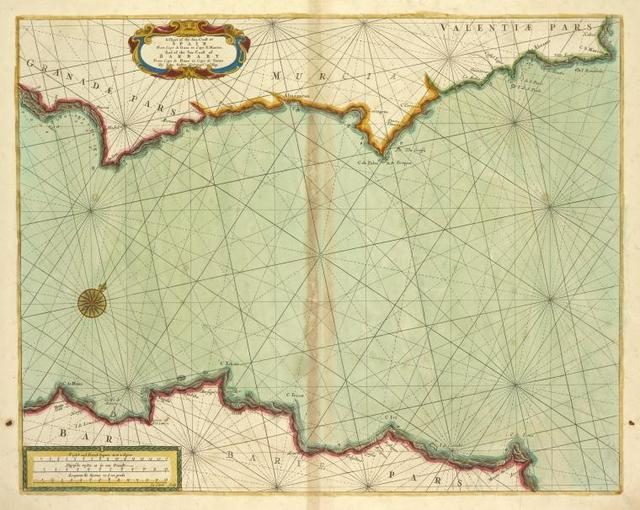 A chart of the sea coast of SPAIN from cape de Gata to cape S. Martin and of the sea coast of BARBARY from cape de Hone to cape de Tenes