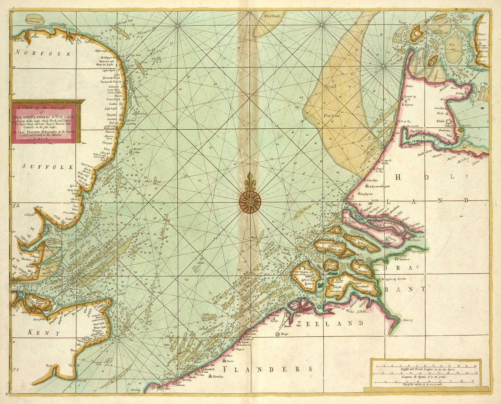 A chart of the Seacoasts of ENGLAND FLANDERS and HOLLAND shewing all the sand shoals Rocks and Dangers, The Bayes, Roads, Harbours, Buoyes and seamarks on the said coasts.
