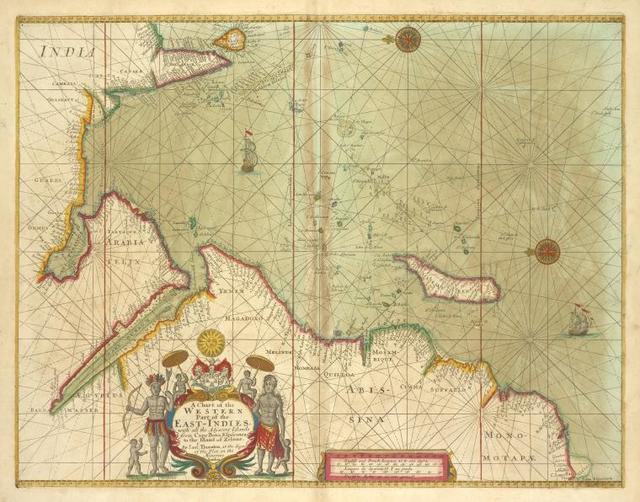 A chart of the WESTERN part of the EAST-INDIES with all the adjacent Islands from cape Bona Esperanca to the Island of Zelone