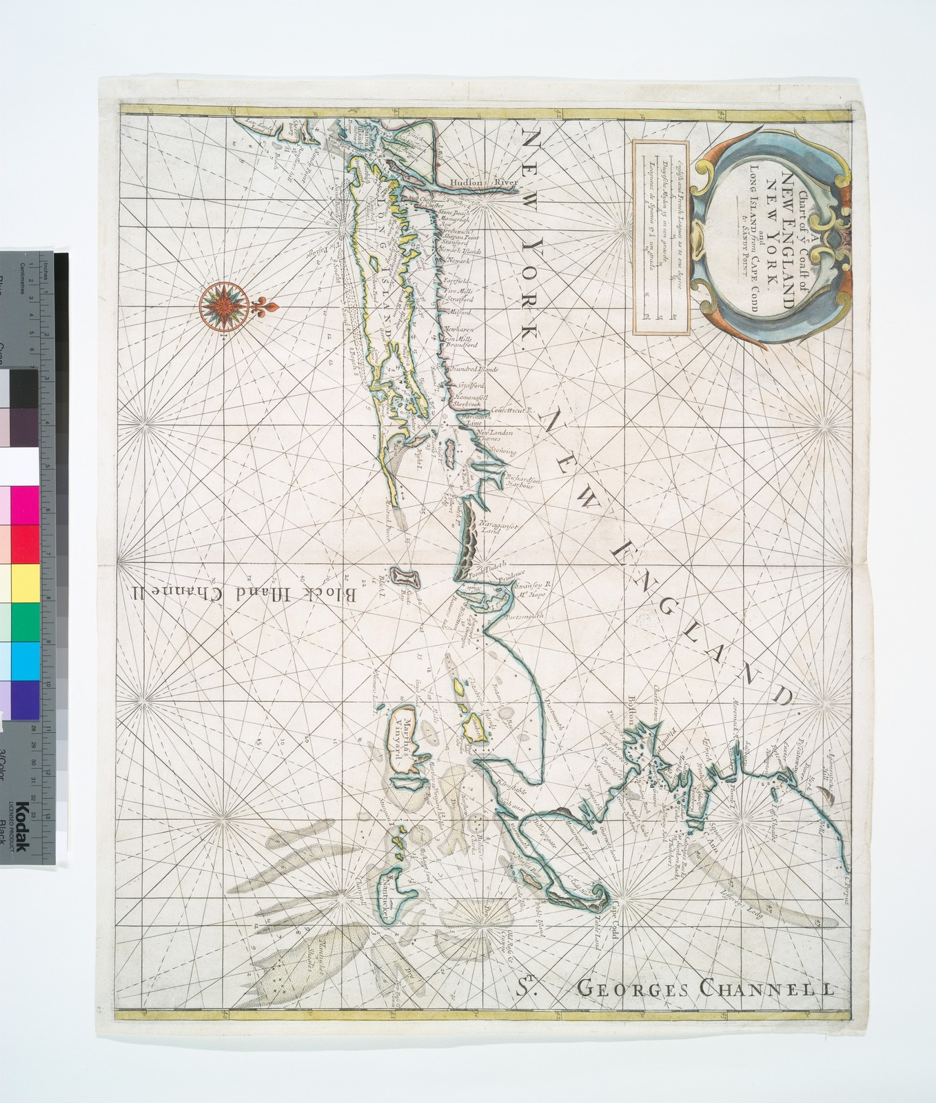A Chart of ye coast of New England, New York and Long Island from Cape Codd to Sandy Point.