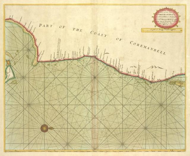 A large chart of part of the coast of COREMANDELL from Point Pedro to Armegon