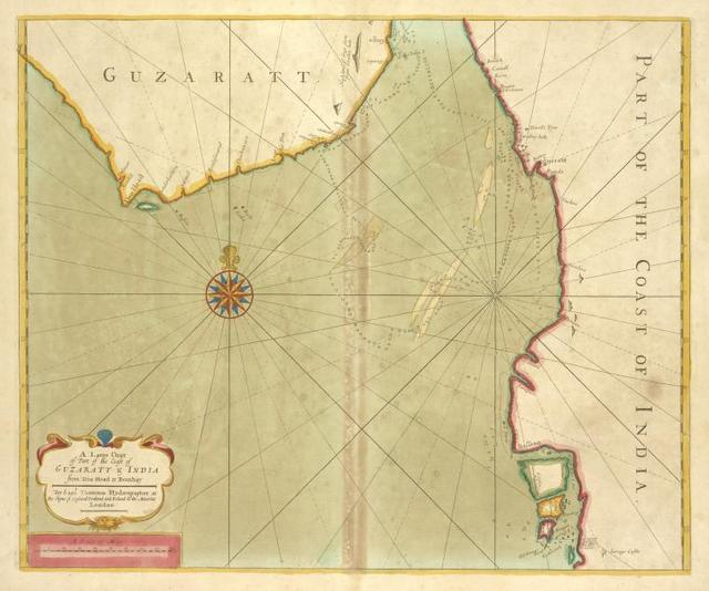 A large chart of part of the coast of GUZARATT and INDIA from Diu head to Bombay