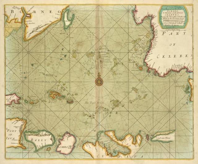 A large draught from Benjar on the Island of BORNEO to Macasser on the Island of CELEBES shewing the streights of Bally with the Island to the Eastward thereof.