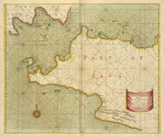 A new and correct chart of part of the Island of JAVA from the West end to Batavia with the Streights of Sunda