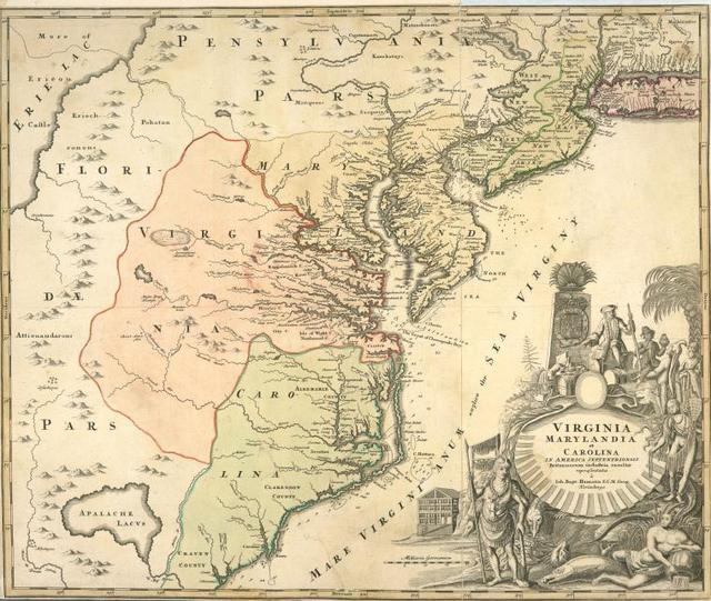 Virginia, Marylandia et Carolina in America septentrionali Britannorum industria excultae