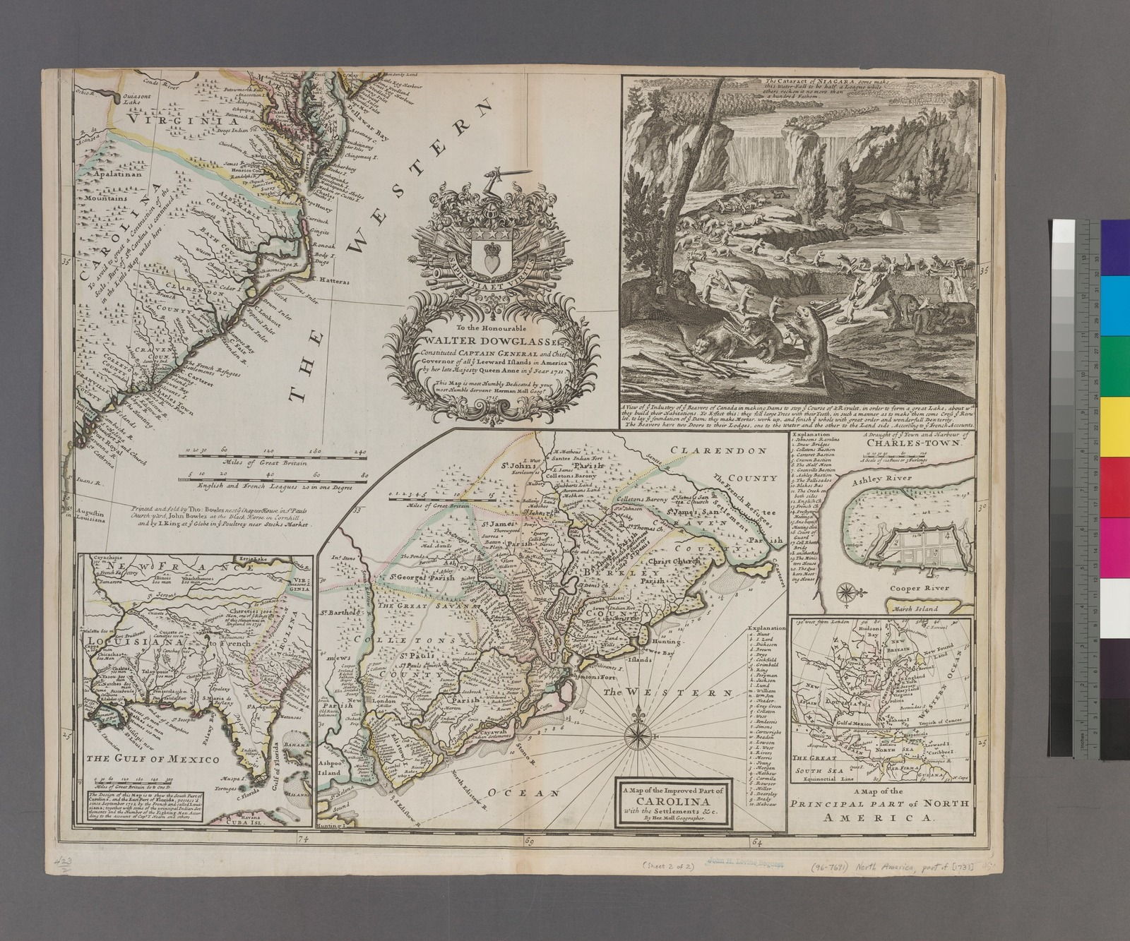 A new and exact map of the dominions of the King of Great Britain on ye continent of North America : containing Newfoundland, New Scotland, New England, New York, New Jersey, Pensilvania, Maryland, Virginia and Carolina