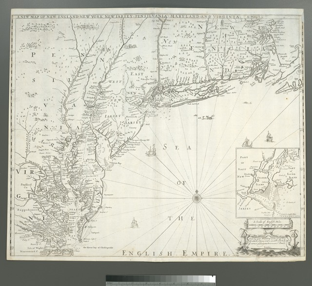A new map of New England, New York, New Iarsey, Pensilvania, Maryland, and Virginia.