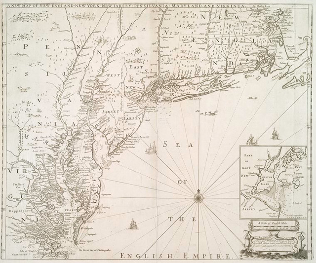 A new map of New England, New York, New I[J]arsey, Pensilvania, Maryland, and Virginia.