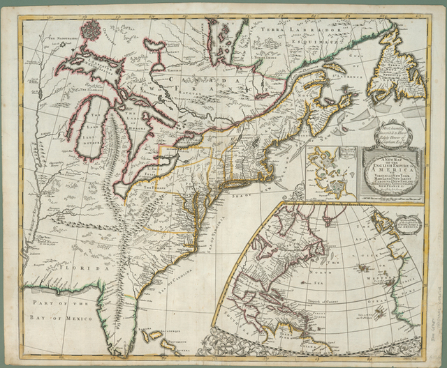 A new map of the English empire in America : viz. Virginia, Maryland, Carolina, New York, New Iarsey, New England, Pennsylvania, Newfoundland, New France &c.