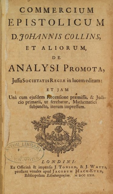 Commercium epistolicum D. Johannis Collins title page
