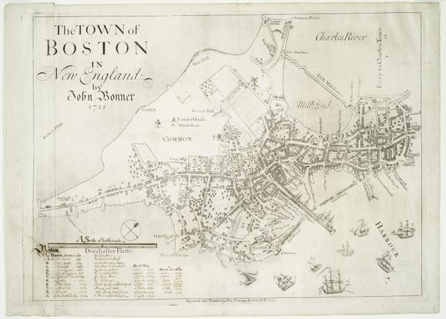 The town of Boston in New England.