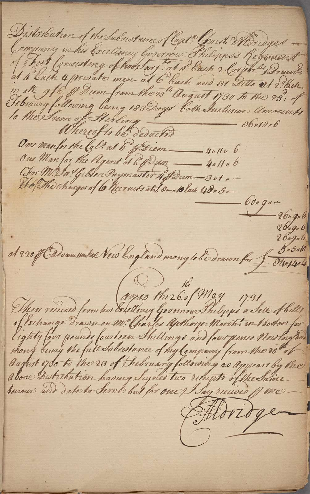 Canso, [Nova Scotia,] 1729–1731. Subsistence accounts of the companies commanded by Lawrence Armstrong, Christopher Aldridge, James Mitford, and Francis Cavally, in Governor Philipps' Regiment of Foot, from Aug. 24, 1729, to Aug. 24, 1731