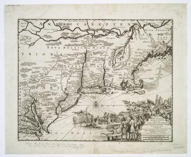 Nouvelle Hollande (à présent Nouvelle-York), Nouvelle-Angleterre, et une partie de la Virginie