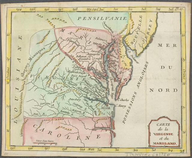 Carte de la Virginie et du Mariland.