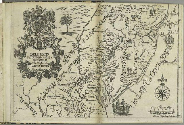 Delineatio Pennsilvaniae et Caesareae, nov. occident seu West N. Iersey in America