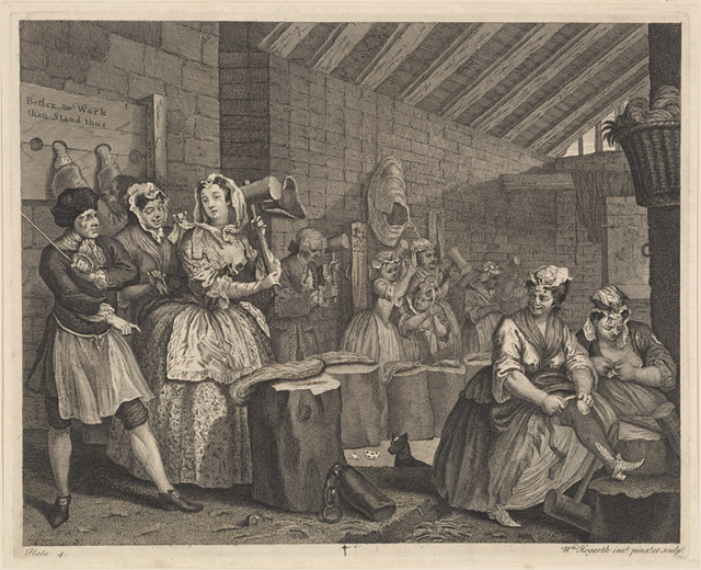 AHarlot's Progress, Plate 4 [Beating Hemp in Bridewell]