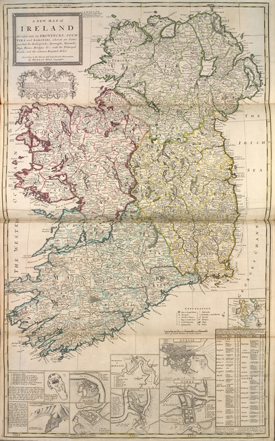 A new map of Ireland, divided into its provinces, counties and baronies, wherein are distinguished the bishopricks, borroughs, barracks, bogs, passes, bridges &c. with the principal roads, and the common reputed miles.