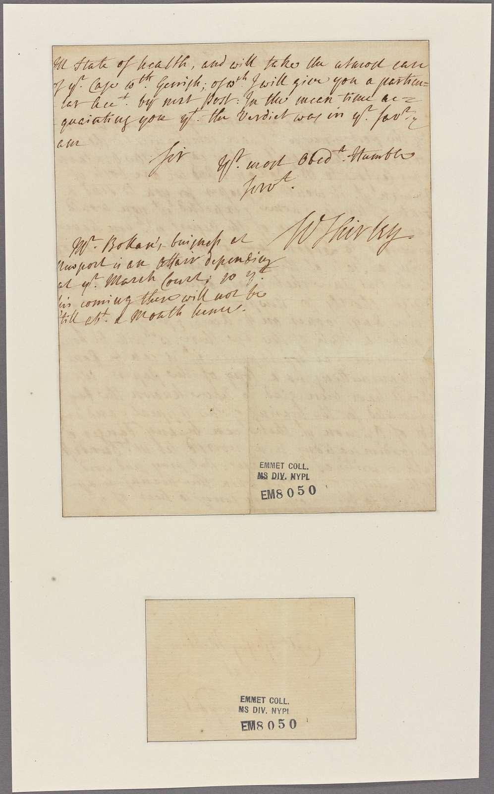 Letter to Capt. Godfrey Mallbone, Newport [R. I.]