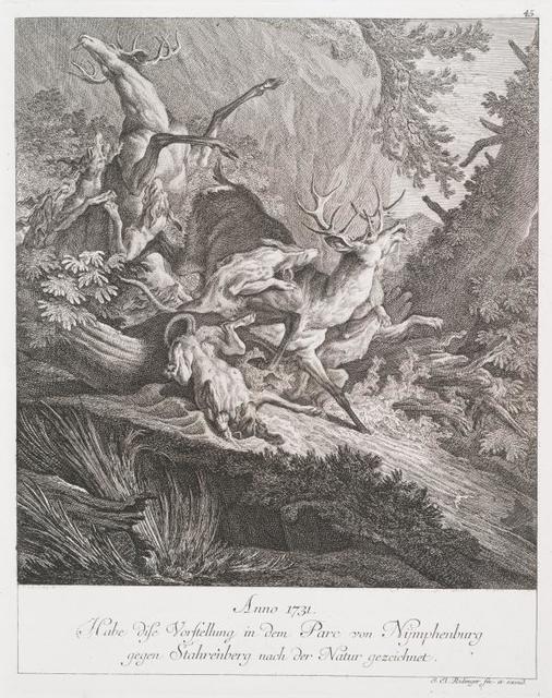 Anno 1731. Habe dise Vorstellung in dem Parc vono Nymphenburg gegen Stahrenberg nach der Natur gezeichnet.