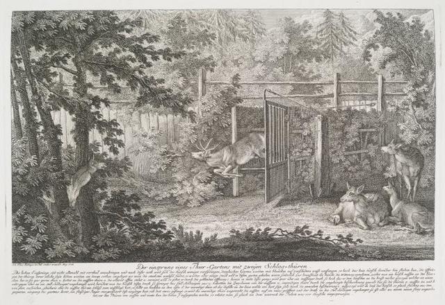 Der einsprung eines Thier-Gartens mit zweyen Schlag-thüren.
