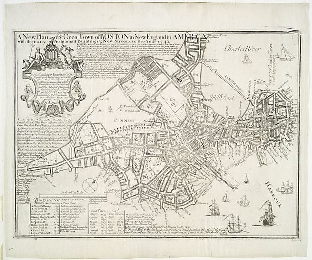 A new plan of ye great town of Boston in New England in America with the many additional buildings, and new streets, to the year, 1743