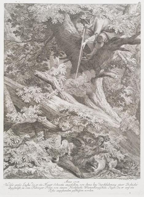 Anno 1718. Ist diser grosse Luchs da er ein Haupt Schwein angefallen, von ihme bey durchfahrung einer Dickicht abgestreift, in dem Tübinger Forst, von einem Hochfürstl. Würtenbergischen Jäger; da er auf ein Rehe angestanden geschossen worden.