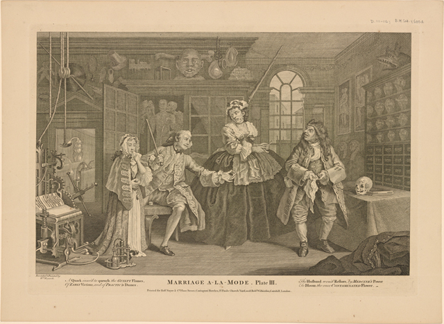 Marriage A-La-Mode.  Plate III.  [The Scene with the Quack]