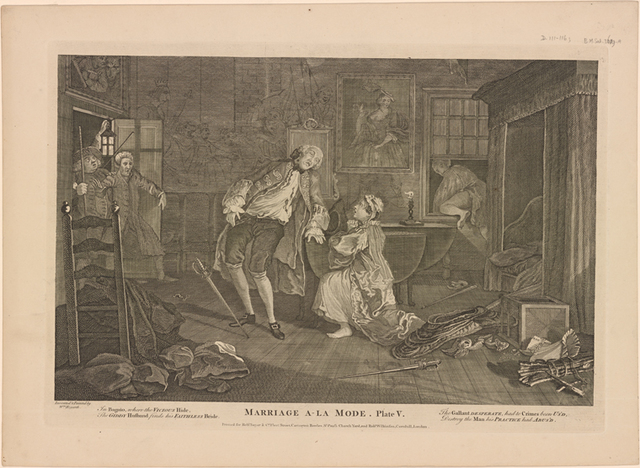 Marriage A-La-Mode.  Plate V. [The Death of the Earl]