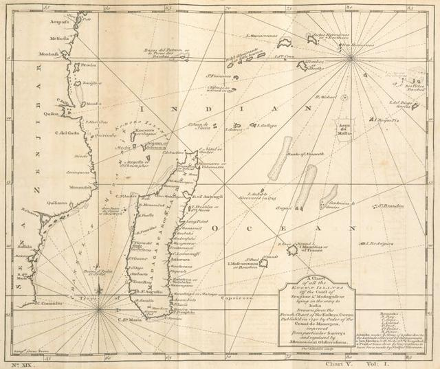 A chart of all the known islands off the coast of Zenjibar & Madagascar lying in the way to India.