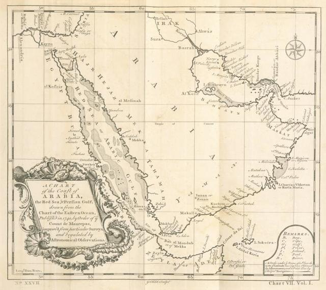 A chart of the coast of Arabia, the Red Sea & Persian Gulf.