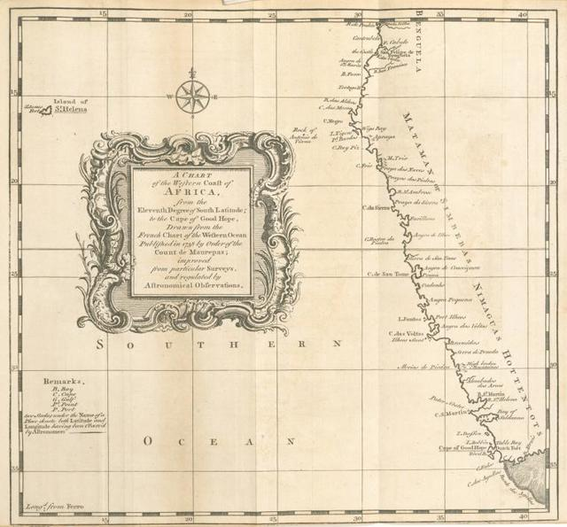 A chart of the western coast of Africa, from the eleventh degree of south latitude, to the Cape of Good Hope.