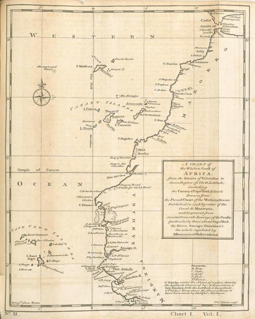 A chart of the Western Coast of Africa, from the Straits of Gibraltar to eleven degrees of north latitude; including the Canary & Cape Verde Islands.