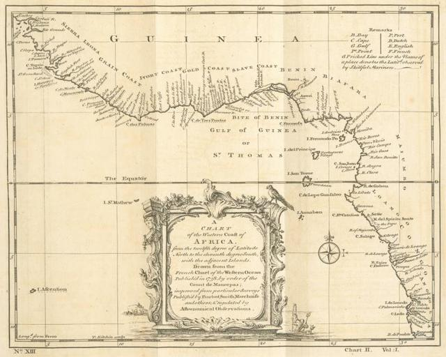 A chart of the western coast of Africa, from the twelfth degree of north latitude to the eleventh degree south, with the adjacent islands.