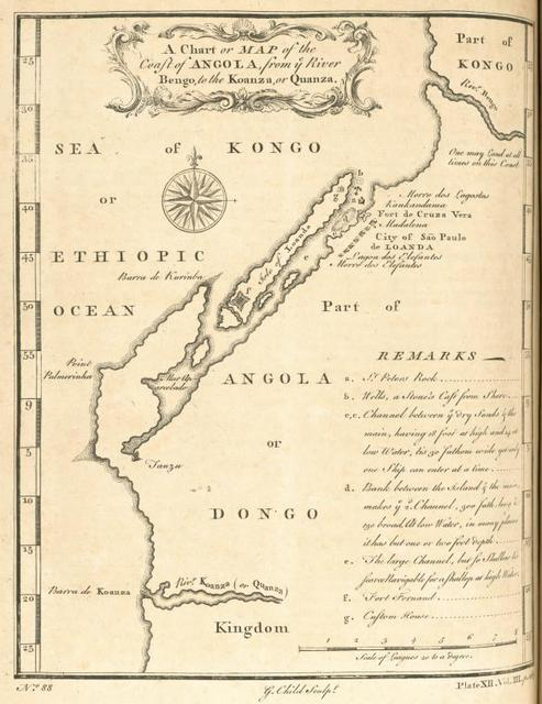 A chart or map of the coast of Angola, from the River Bengo, to the Koanza, or Quanza.