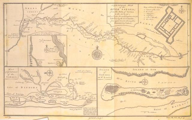 A general map of the River Sanaga, from the falls of Govina to the ocean; Plan of Fort St. Joseph; Country about Fort St. Joseph in Galam; Map of the entrance of the Sanaga; Island of Sanaga or St. Louis.